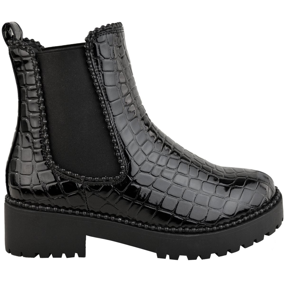 thumbnail 3 - Womens Ankle Chelsea Boots Beaded Studded Elastic Stretch Winter Shoes Size New