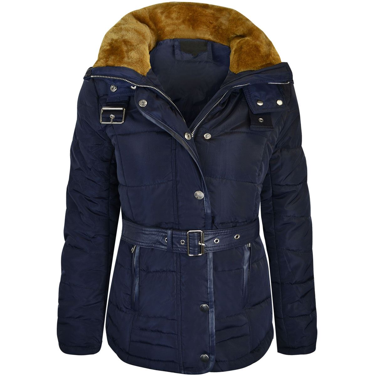 Womens Ladies Quilted Winter Coat Puffer Fur Collar Hood