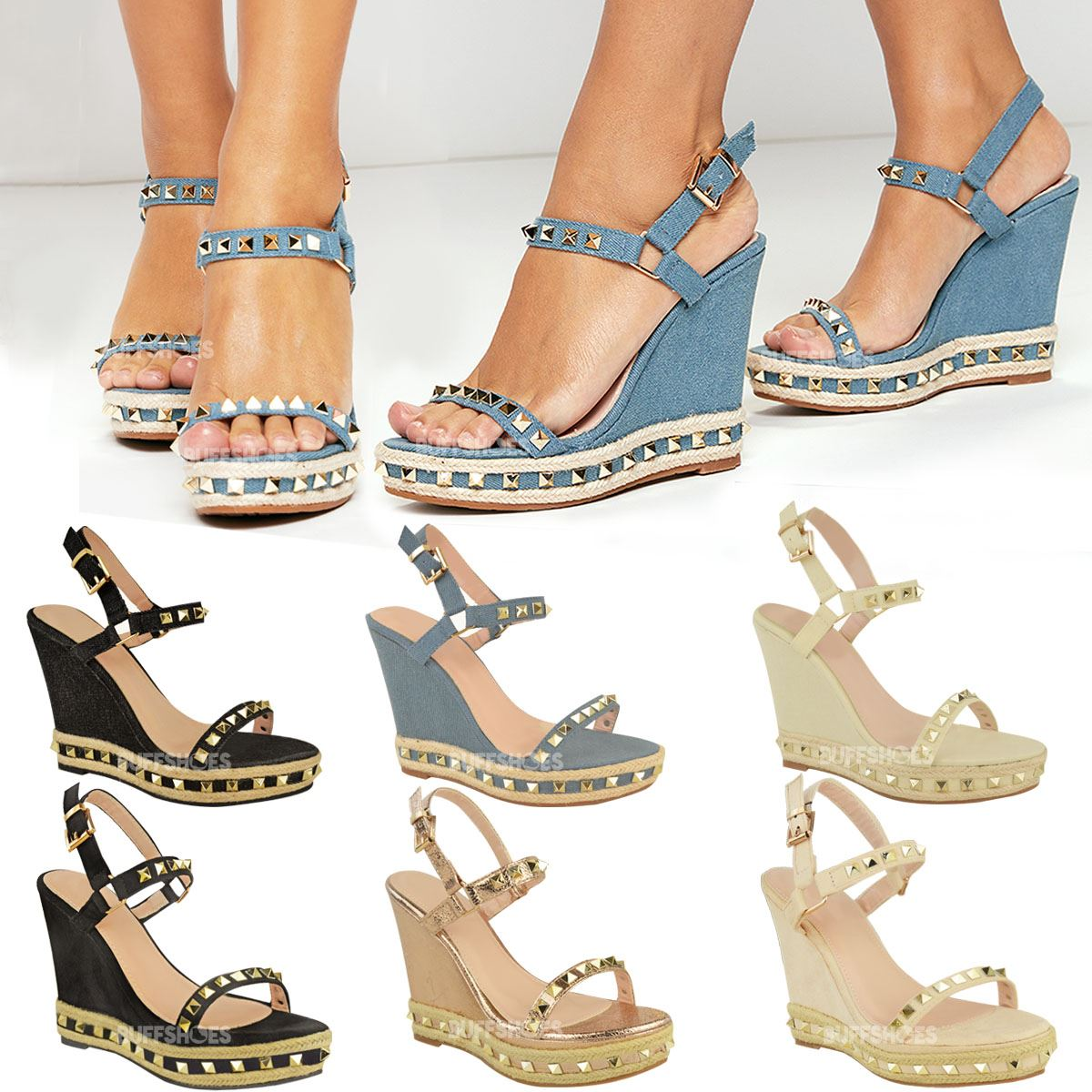 503e8e4ebc3 Details about Womens Ladies Studded Wedge Sandals Strappy Platforms Denim  Summer Shoes Size