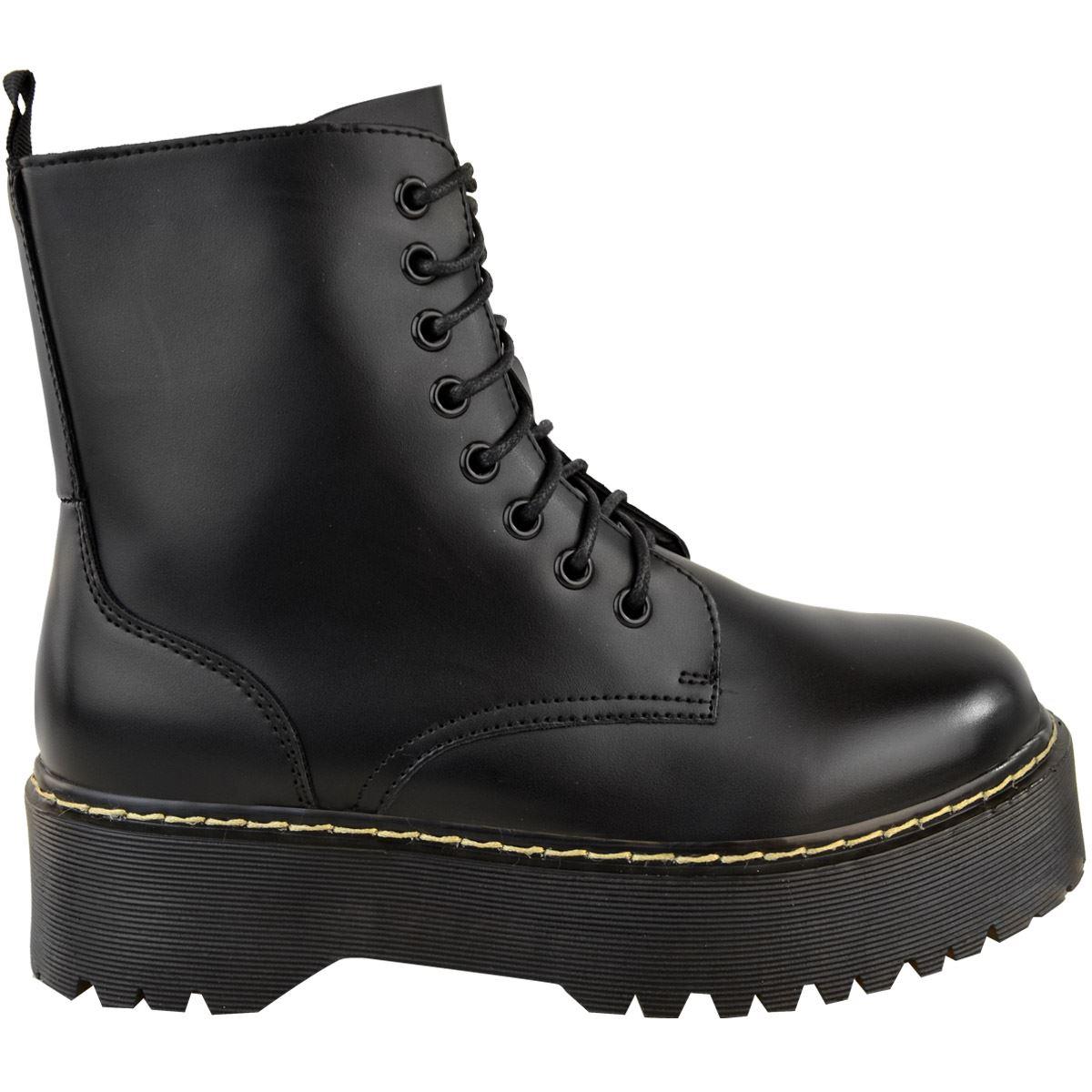 Womens-Ladies-Chunky-Lace-Up-Ankle-Boots-Platform-Icon-Retro-Goth-Punk-Black miniatuur 4