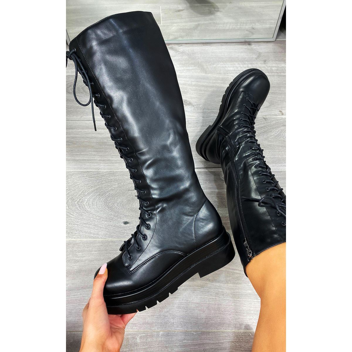 thumbnail 5 - Womens-Ladies-Lace-Up-Knee-Boots-Calf-High-Shoe-Grunge-Chunky-Sole-Size-Zip-New
