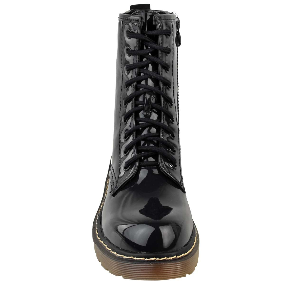 Womens-Doc-Ankle-Boots-Black-Faux-Leather-Patent-Lace-Up-Flat-Work-Army-Air-Goth thumbnail 6