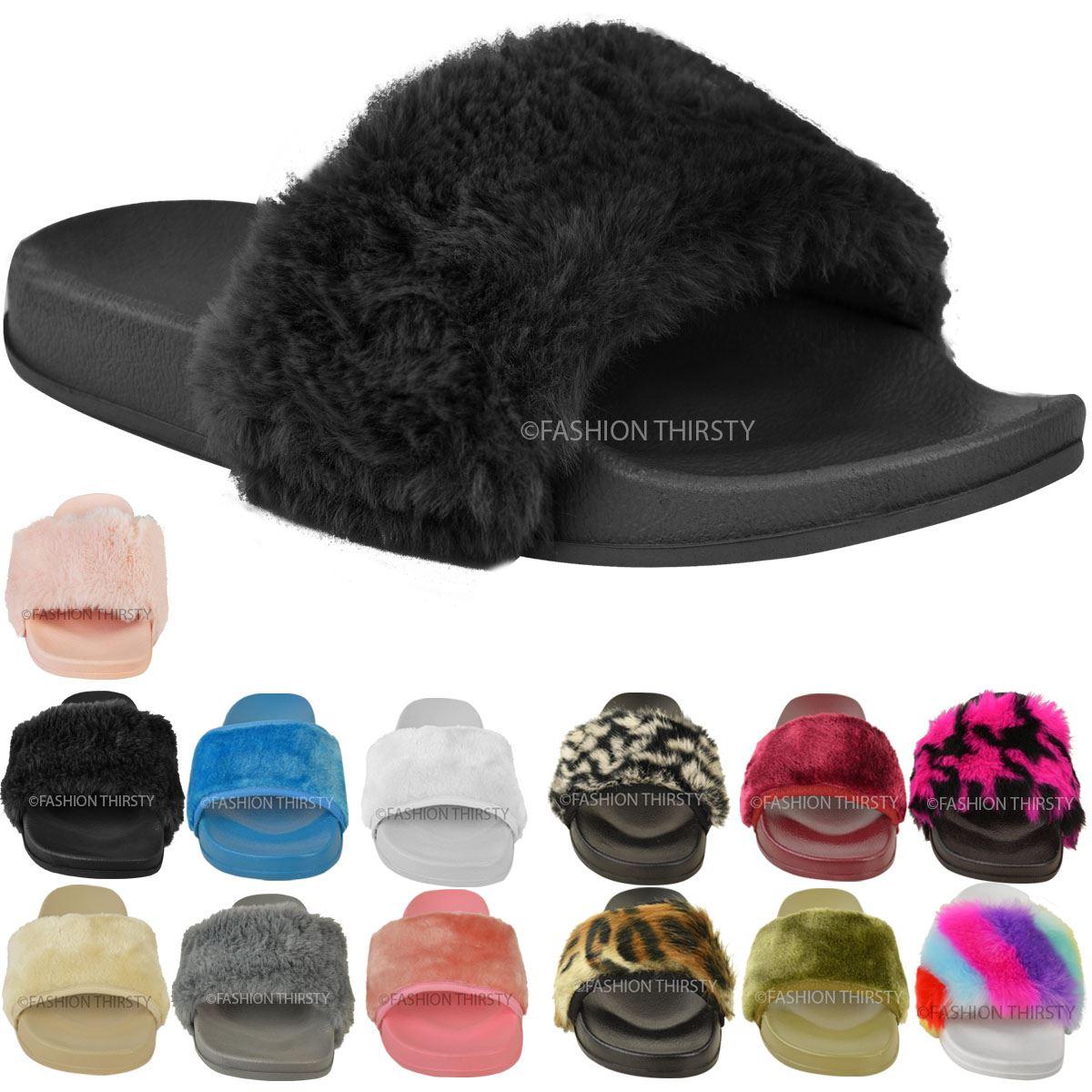 Faux-Fur-Fluffy-Sliders-Flat-Celebrity-Black-Designer-