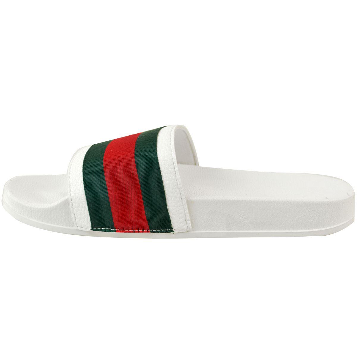 Mens-Guys-Flat-Rubber-Slides-Sliders-Stripe-Sandals-Pool-Beach-Designer-New-Size thumbnail 15