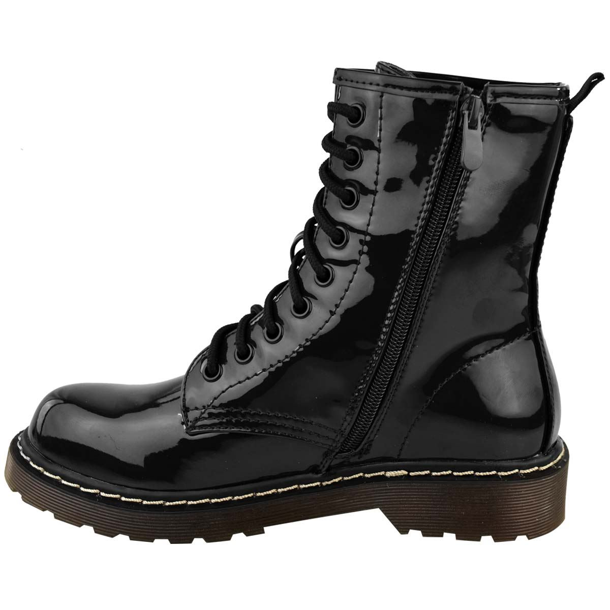 Womens-Doc-Ankle-Boots-Black-Faux-Leather-Patent-Lace-Up-Flat-Work-Army-Air-Goth thumbnail 5