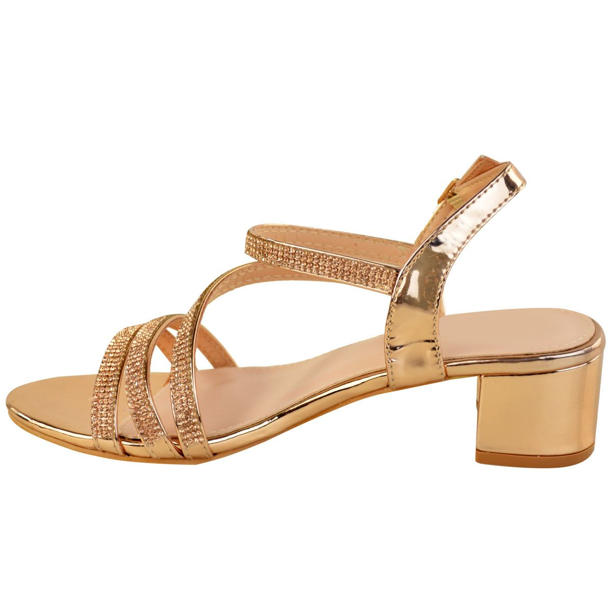 Details about Womens Ladies Low Block Heel Party Wedding Sandals Diamante Prom Shoes Strappy