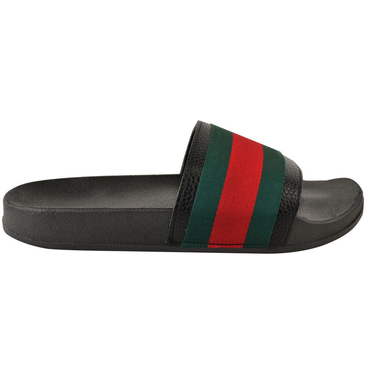 Womens-Striped-Sliders-Slides-Flat-Slip-On-Mules-Summer-Fashion-Sandals-Shoes-Sz thumbnail 4