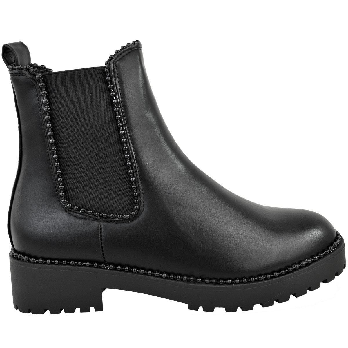 Womens Studded Chunky Chelsea Biker Rocker Ladies Flat Ankle Boot Shoe Size Ebay
