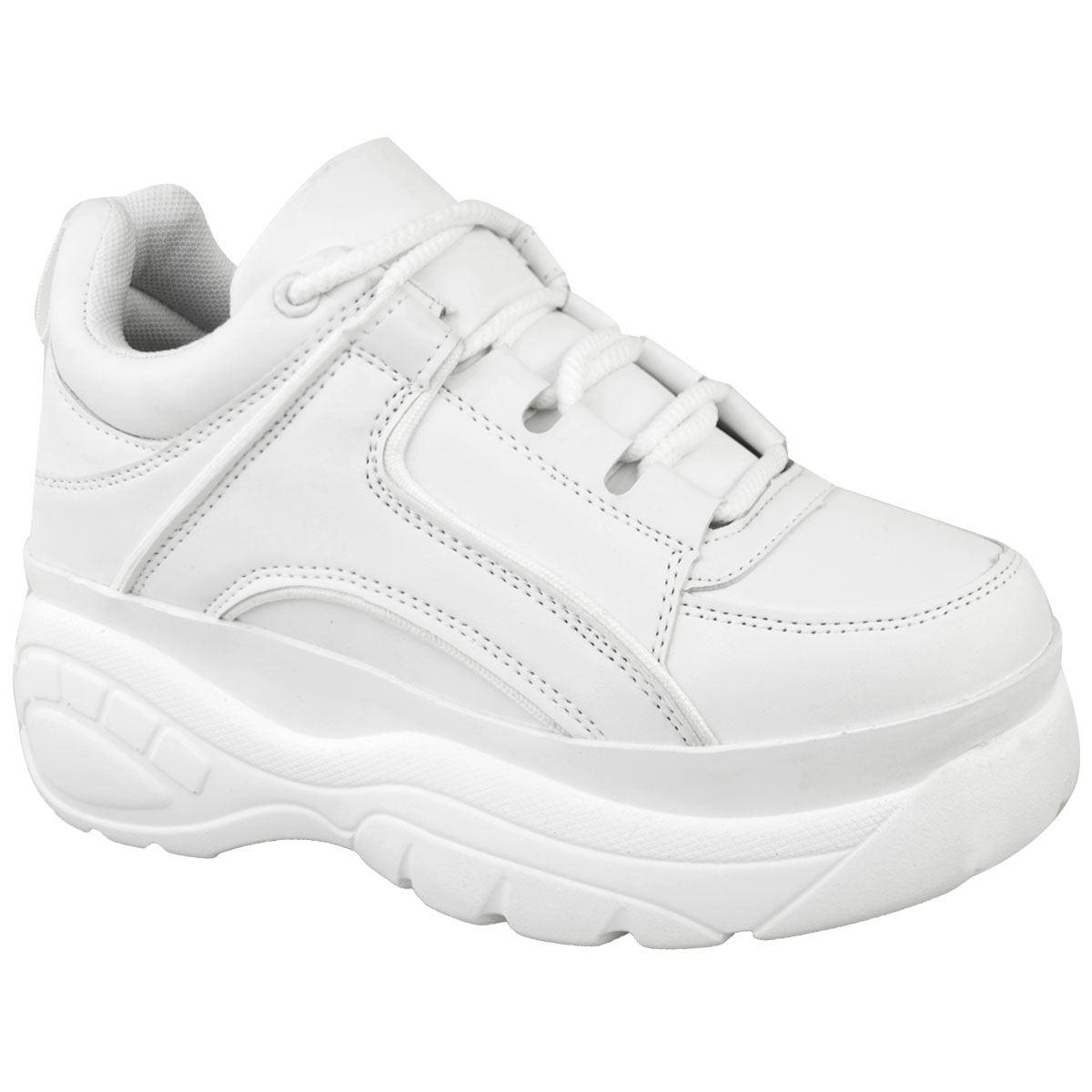 Womens-Ladies-Chunky-High-Platform-Trainers-Sneakers-White-Retro-Punk-Rock-New thumbnail 13