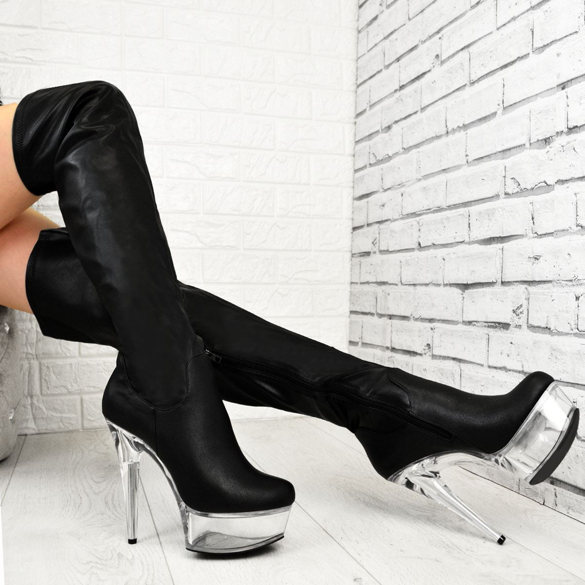 Details about  /Women Over The Knee Stretch Stripper Perspex Platform High Heels Boots Dancing D