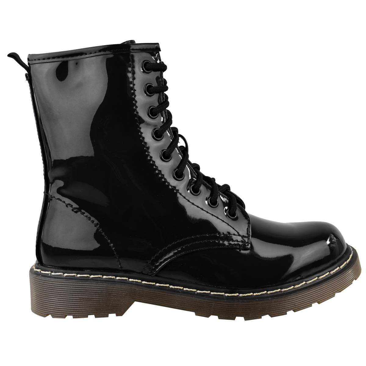 Womens-Doc-Ankle-Boots-Black-Faux-Leather-Patent-Lace-Up-Flat-Work-Army-Air-Goth thumbnail 4
