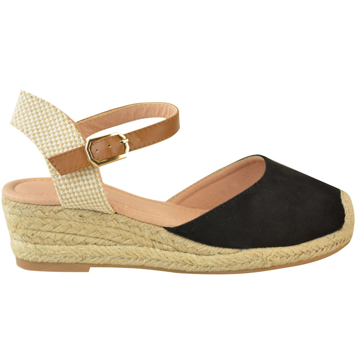 fantastic savings online for sale check out Details about Womens Ladies Low Wedge Heel Summer Sandals Strappy  Espadrilles Shoes Size New