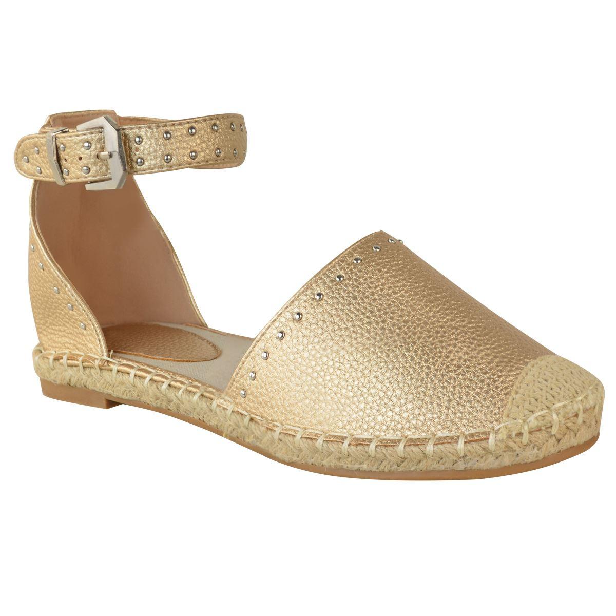Womens-Ladies-Flat-Summer-Sandals-Summer-Flatforms-Ankle-Strap-Stud-Shoe-Size