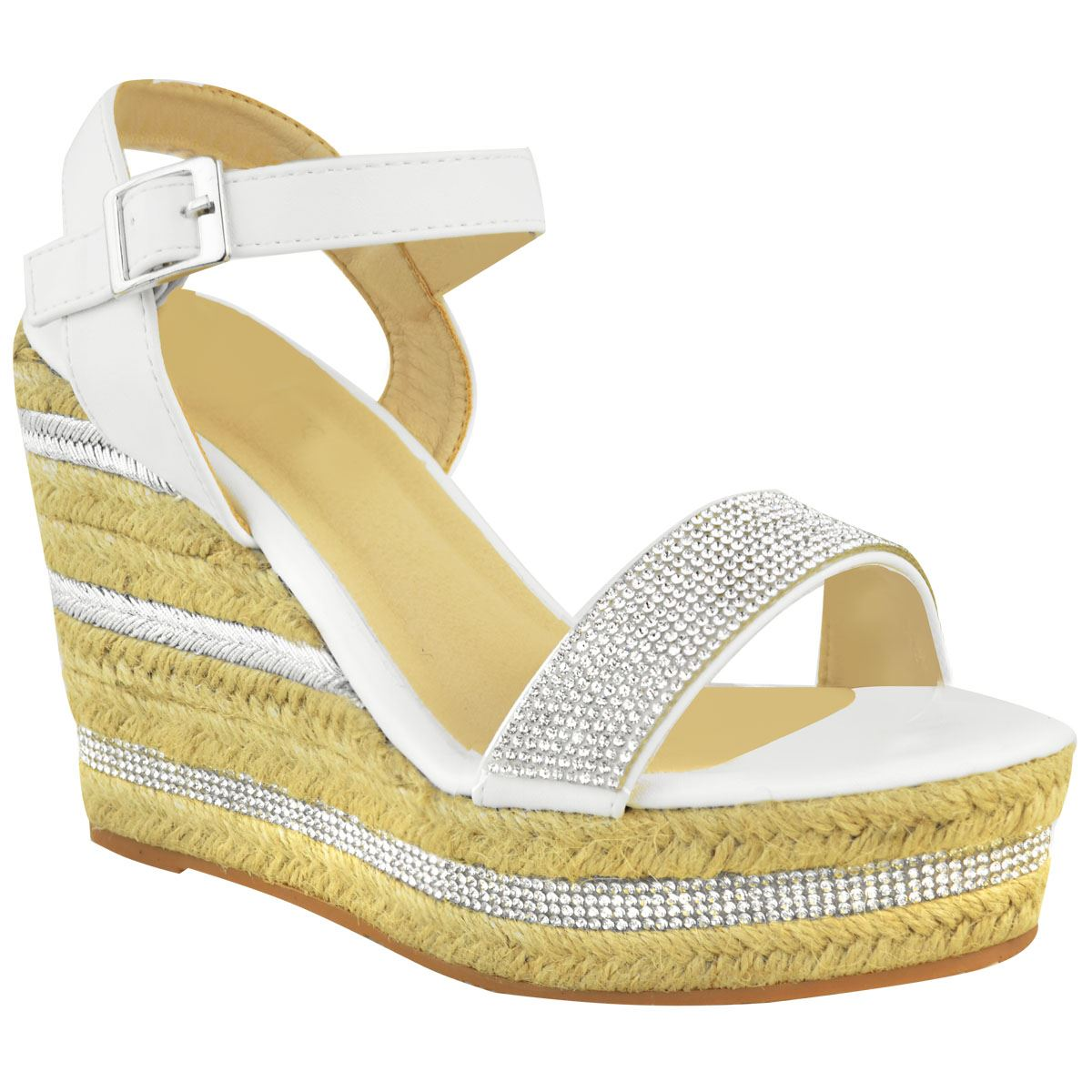 Womens-Ladies-Wedged-High-Heel-Sandals-Raffia-Diamante-Party-Shoes-Summer-Size thumbnail 13