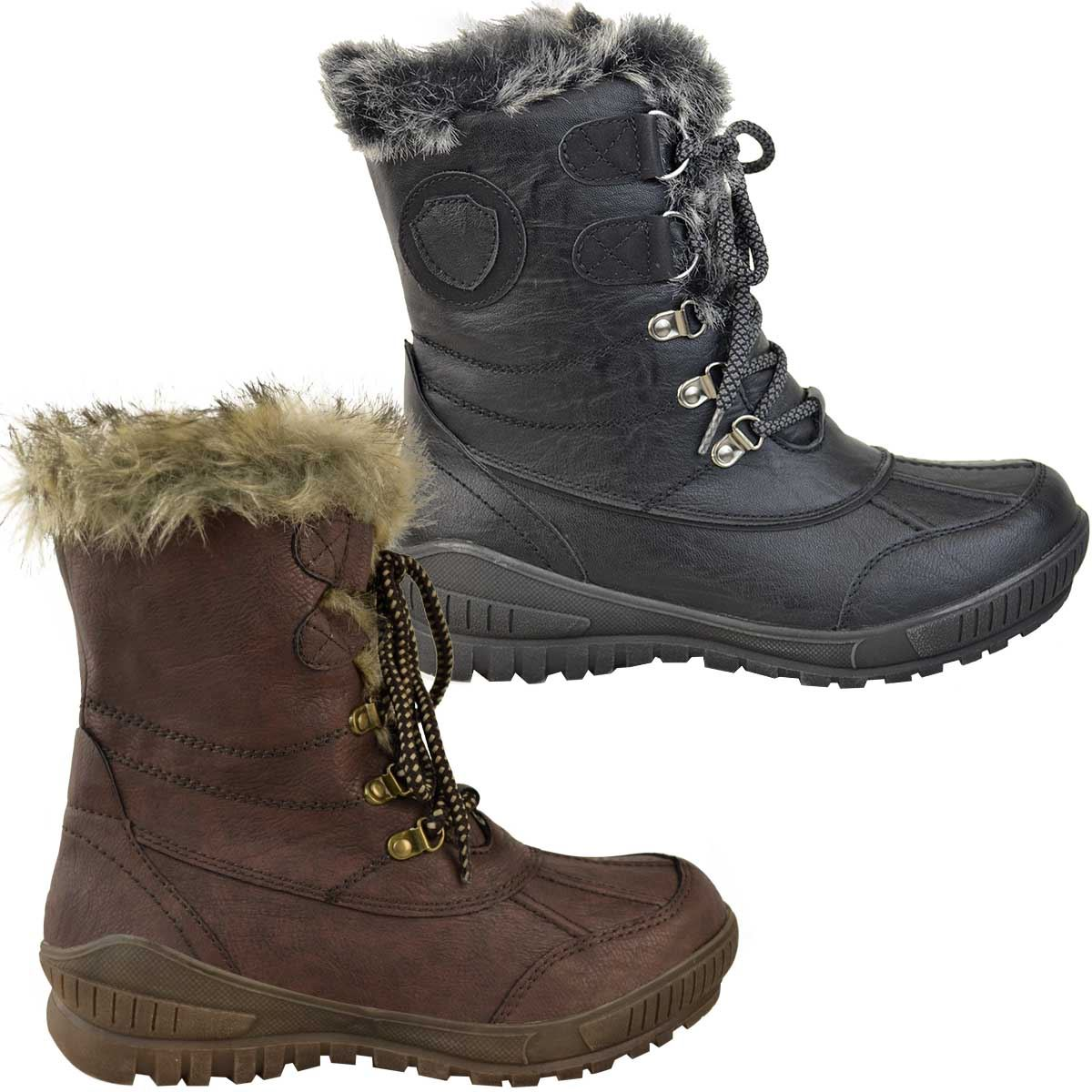 Womens Ladies Snow Ski Ankle Boots Winter Rain Thermal Fully Fur Lined UK Size