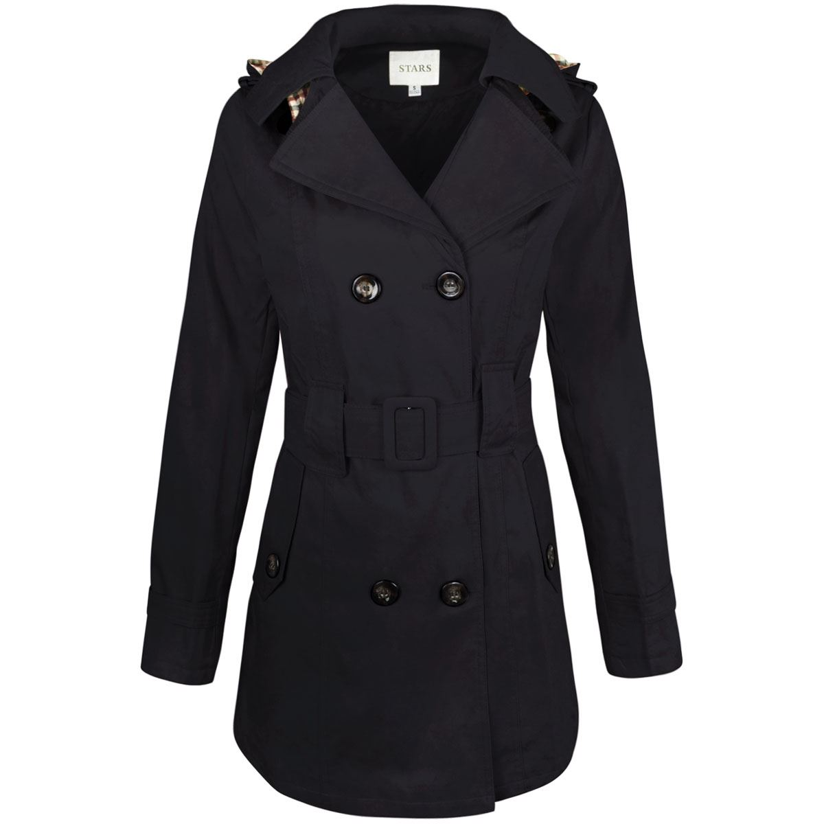 WOMENS-LADIES-DOUBLE-BREASTED-MAC-BELTED-COAT-CANVAS-SMART-JACKET-TRENCH-PARKA thumbnail 6