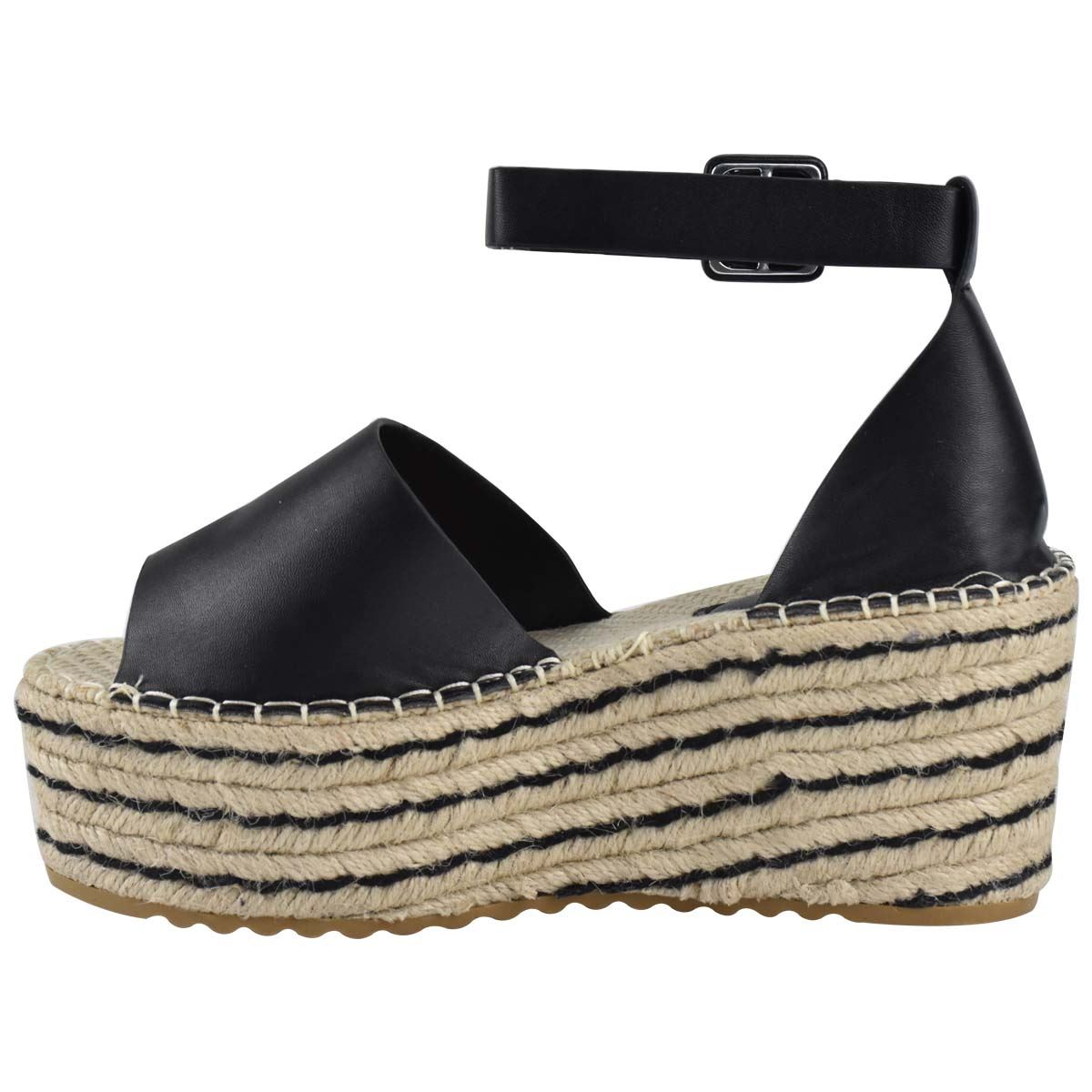 Womens-Flatform-Platform-High-Wedge-Black-Tan-Faux-Leather-Summer-Sandals-Size thumbnail 5