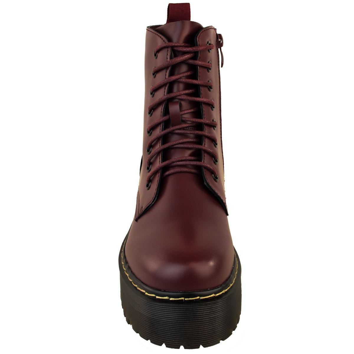 Womens-Ladies-Chunky-Lace-Up-Ankle-Boots-Platform-Icon-Retro-Goth-Punk-Black miniatuur 16