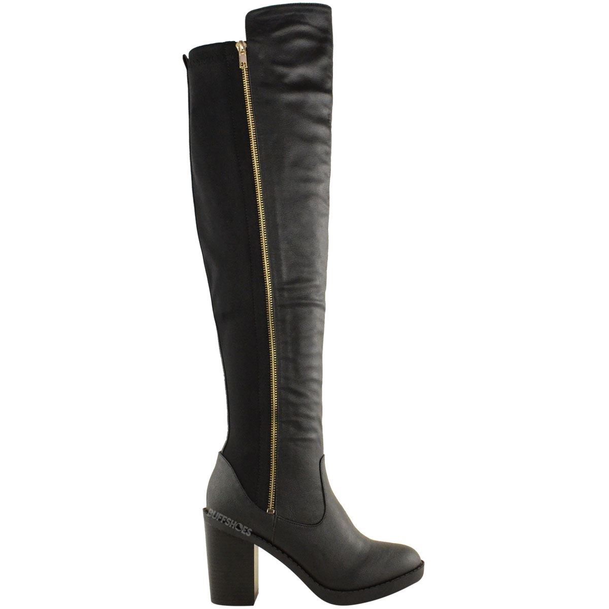 womens ladies chunky heel over the knee thigh high winter boots stretch wide leg ebay. Black Bedroom Furniture Sets. Home Design Ideas
