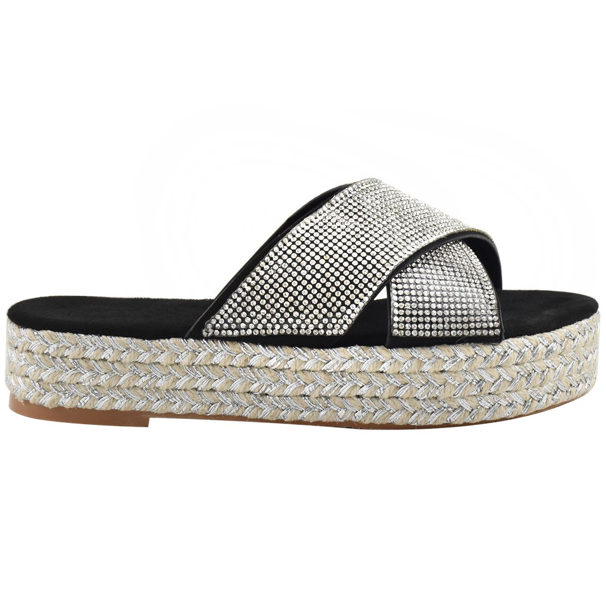 Womens-Diamante-Slip-On-Sandals-Flatforms-Sparkly-Platform-Summer-Size-UK thumbnail 4