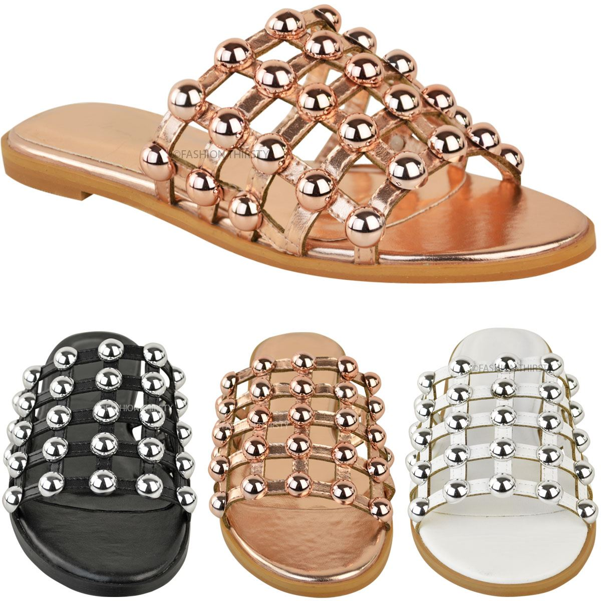 WOMENS STUDDED SLIDERS BEACH HOLIDAY SUMMER SANDALS LADIES FLAT COMFY SHOES SIZE