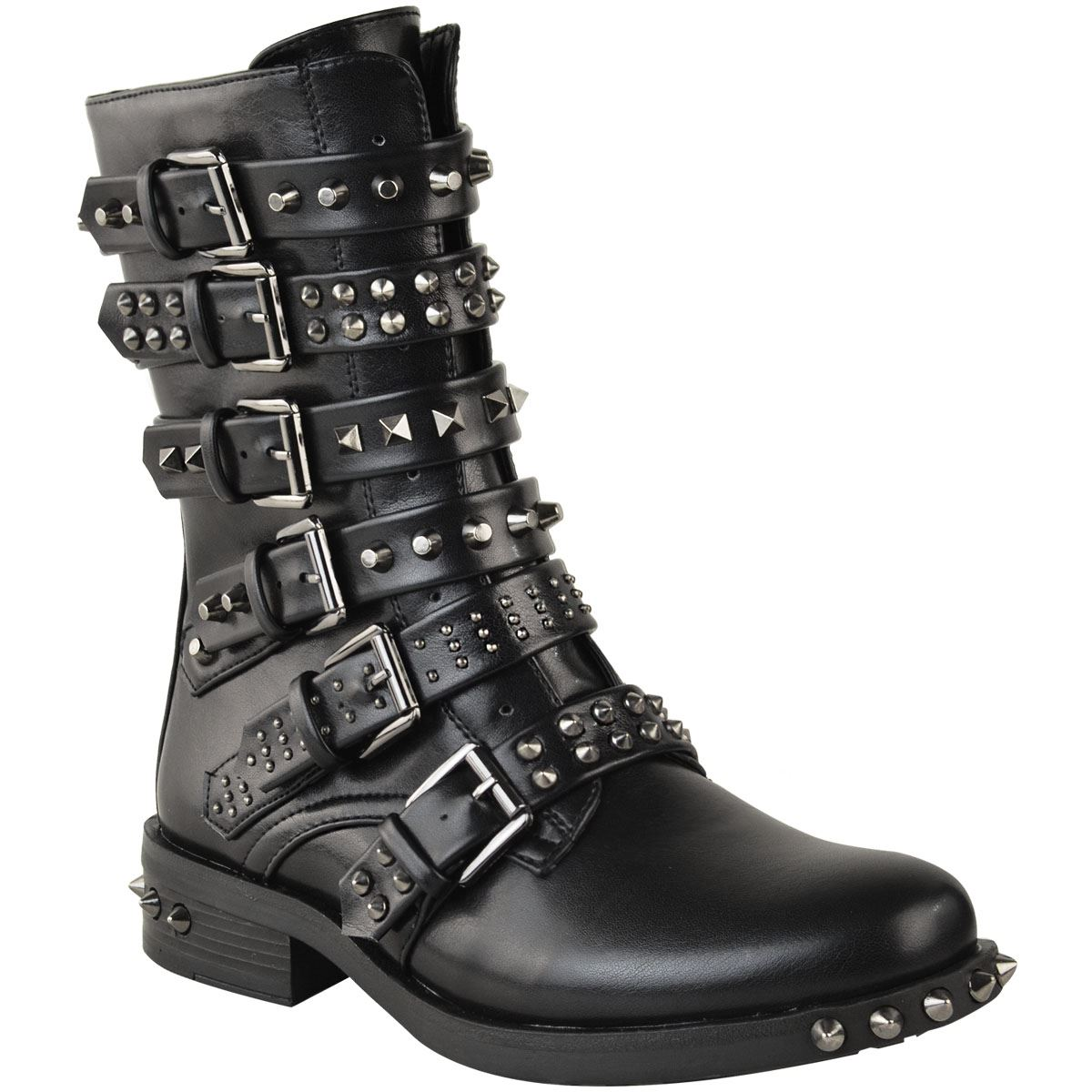 Bottines-femme-cloutees-avec-Bottines-Boucle-Western-Motard-Lanieres-Plates-Chaussures-Taille