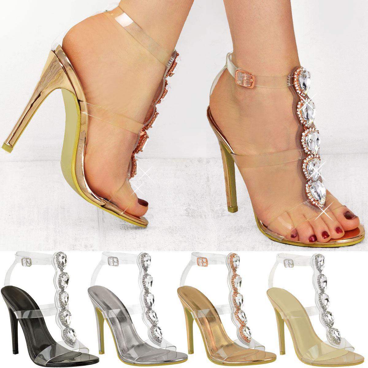 5ee1f11dfa4 New Womens Ladies Perspex High Heel Jewel Stiletto Sandals Strappy ...