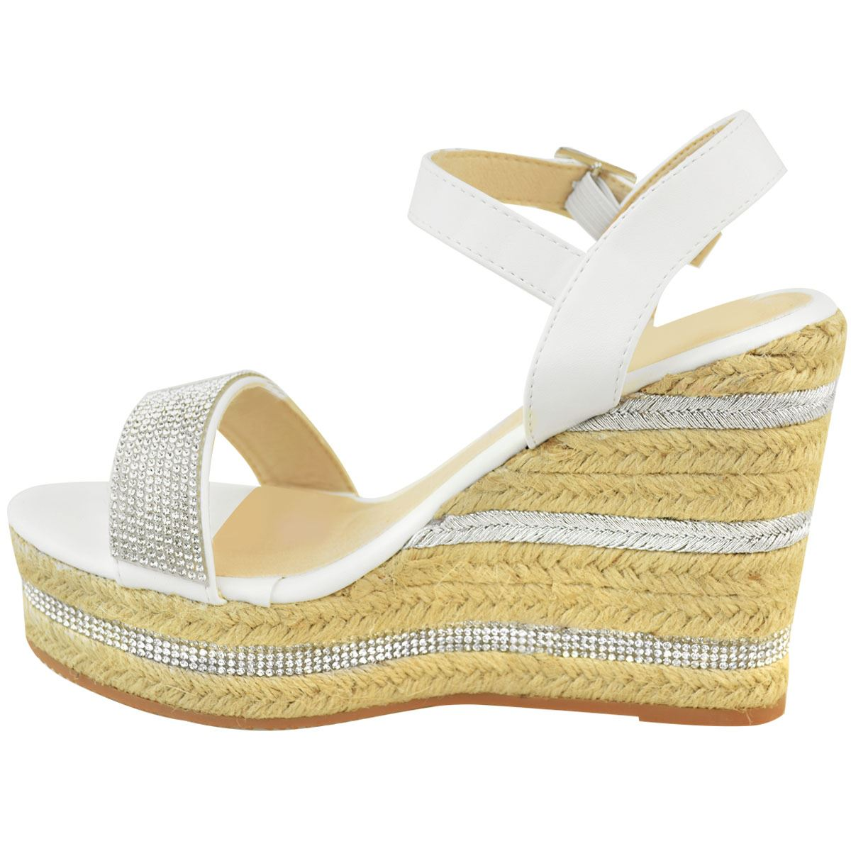 Womens-Ladies-Wedged-High-Heel-Sandals-Raffia-Diamante-Party-Shoes-Summer-Size thumbnail 15
