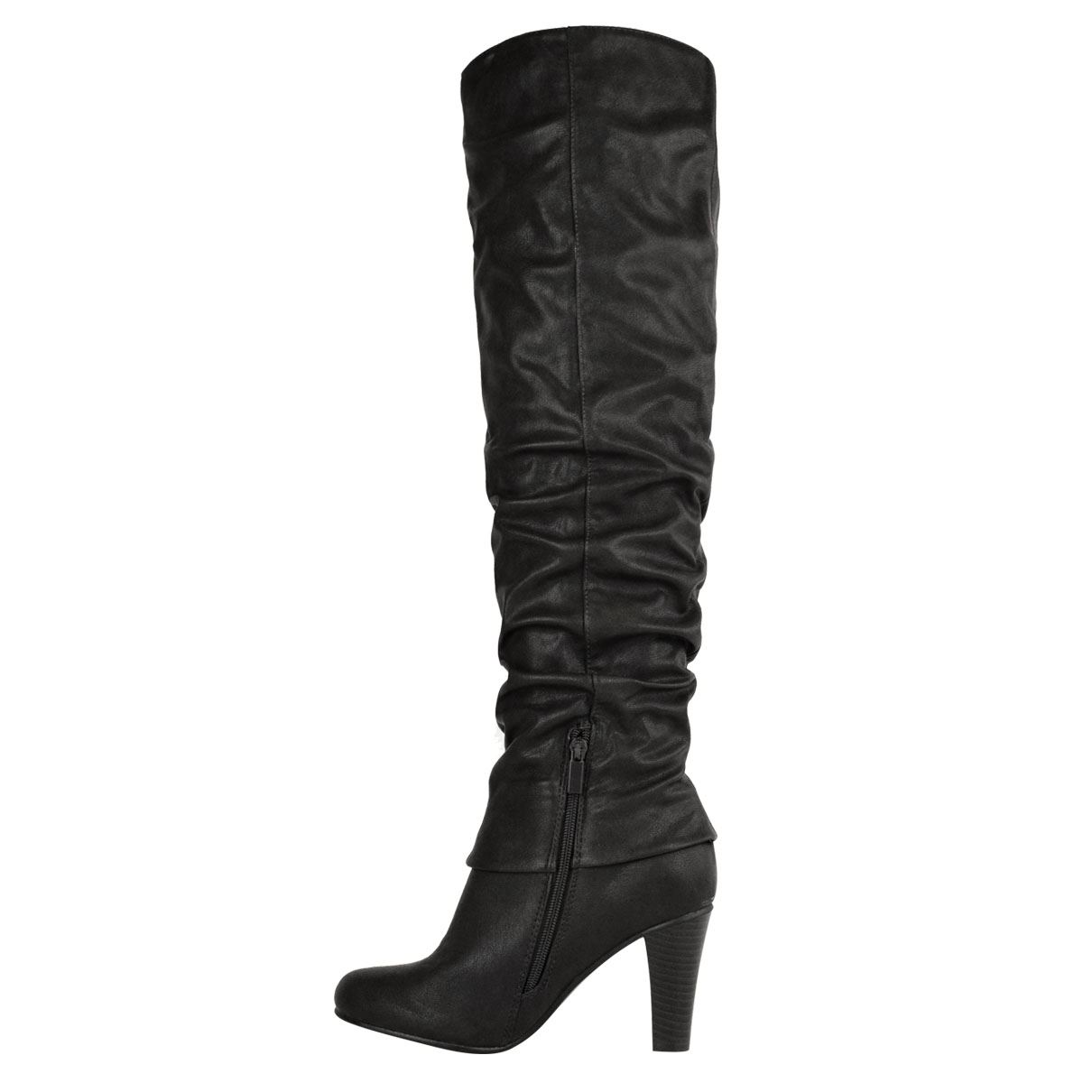 Womens-Ladies-Knee-Calf-High-Boots-Block-Heels-Stretchy-Thigh-Shoes-Grip-Size thumbnail 22