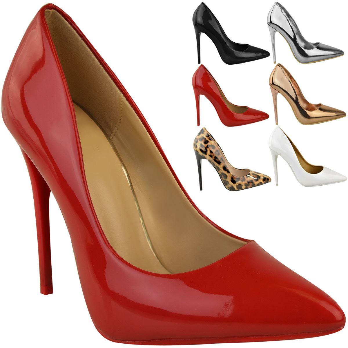 Para-mujeres-Damas-Negro-Tacon-Alto-Zapatos-Tribunal-Inteligente-Ocasion-Formal-Talla-De-Fiesta