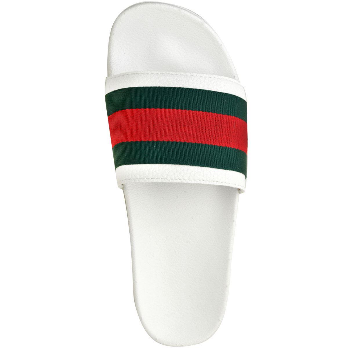 Mens-Guys-Flat-Rubber-Slides-Sliders-Stripe-Sandals-Pool-Beach-Designer-New-Size thumbnail 17