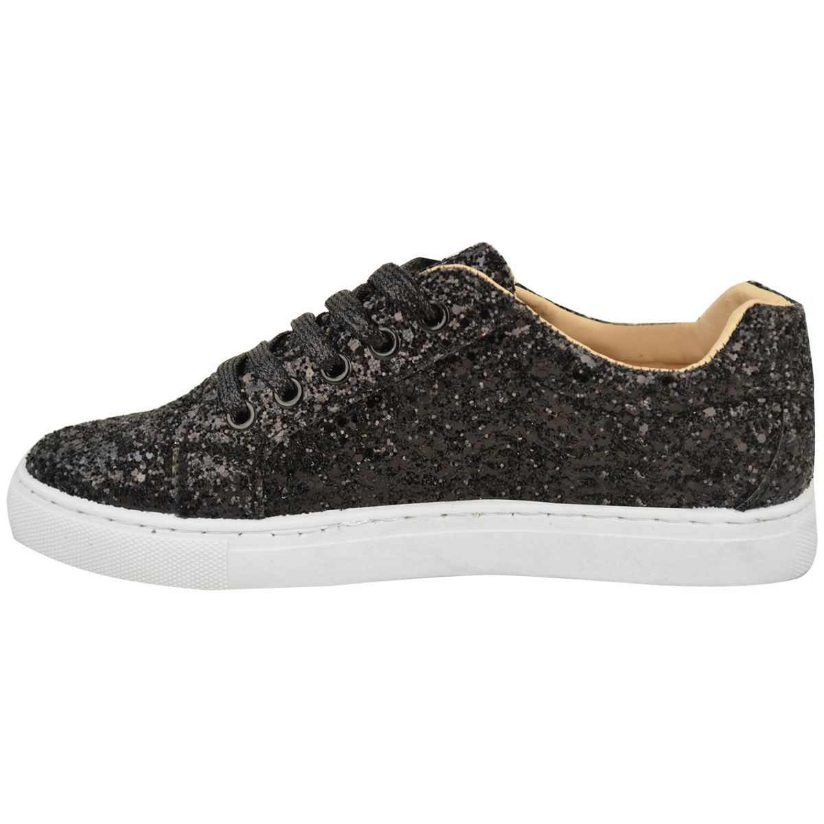 Womens Ladies Lace Up Glitter Sparkly Trainers Sneakers Gym Pumps ... 451e4cefe