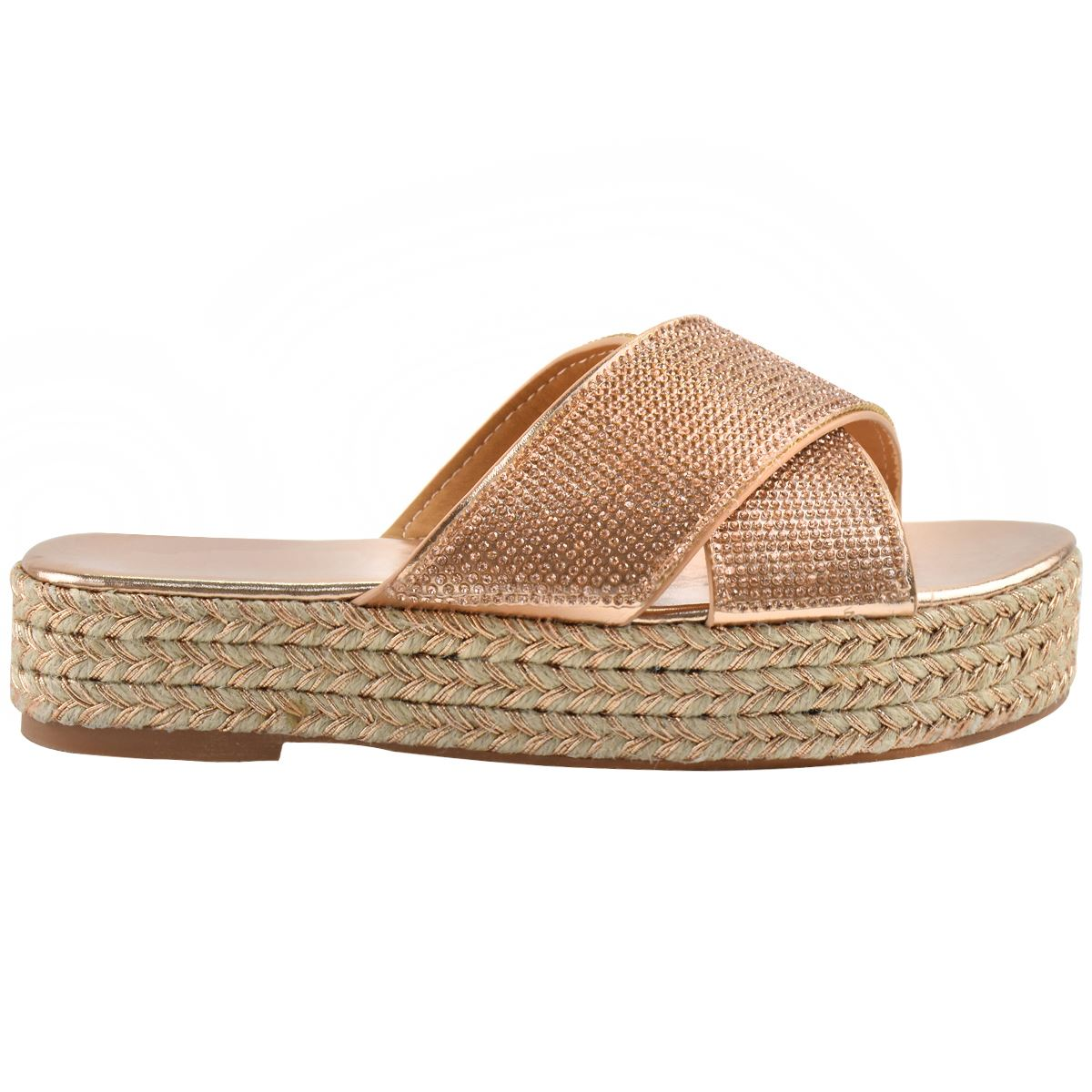 Womens-Diamante-Slip-On-Sandals-Flatforms-Sparkly-Platform-Summer-Size-UK thumbnail 9