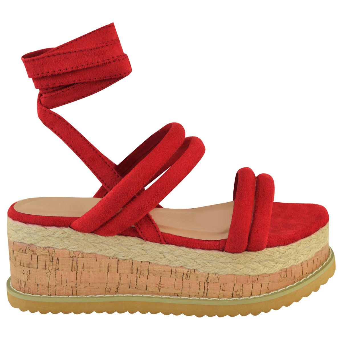 Details about Womens Ladies Lace Up Ribbon Espadrilles Wedge Flatforms Flat Sandals Shoes Size
