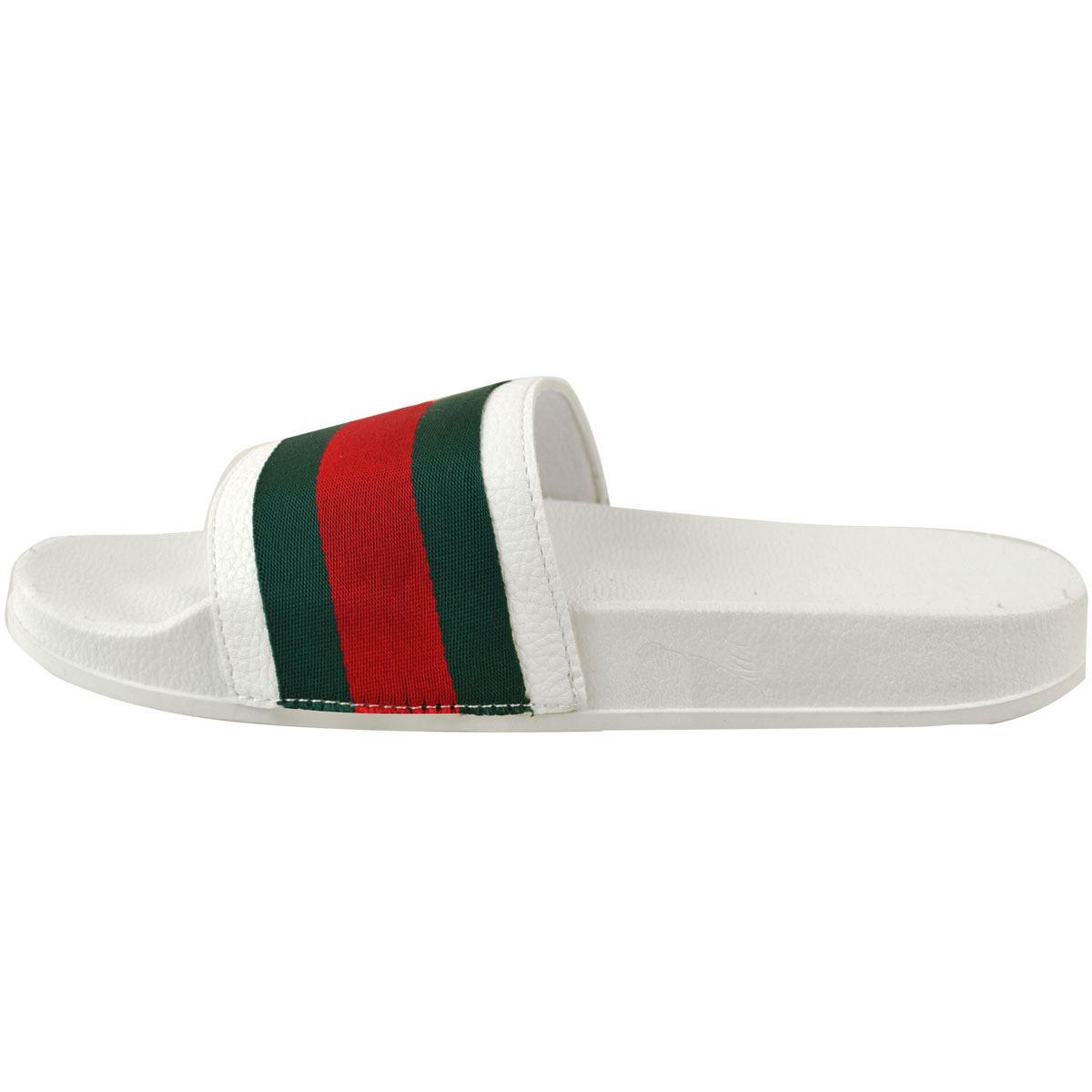Womens-Striped-Sliders-Slides-Flat-Slip-On-Mules-Summer-Fashion-Sandals-Shoes-Sz thumbnail 11