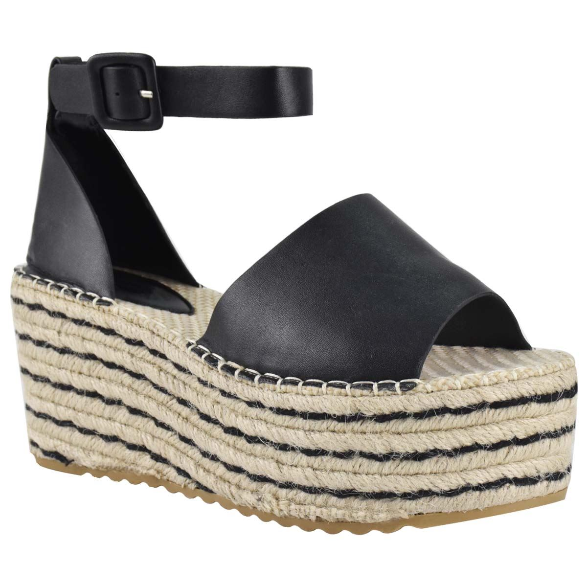 Womens-Flatform-Platform-High-Wedge-Black-Tan-Faux-Leather-Summer-Sandals-Size thumbnail 3