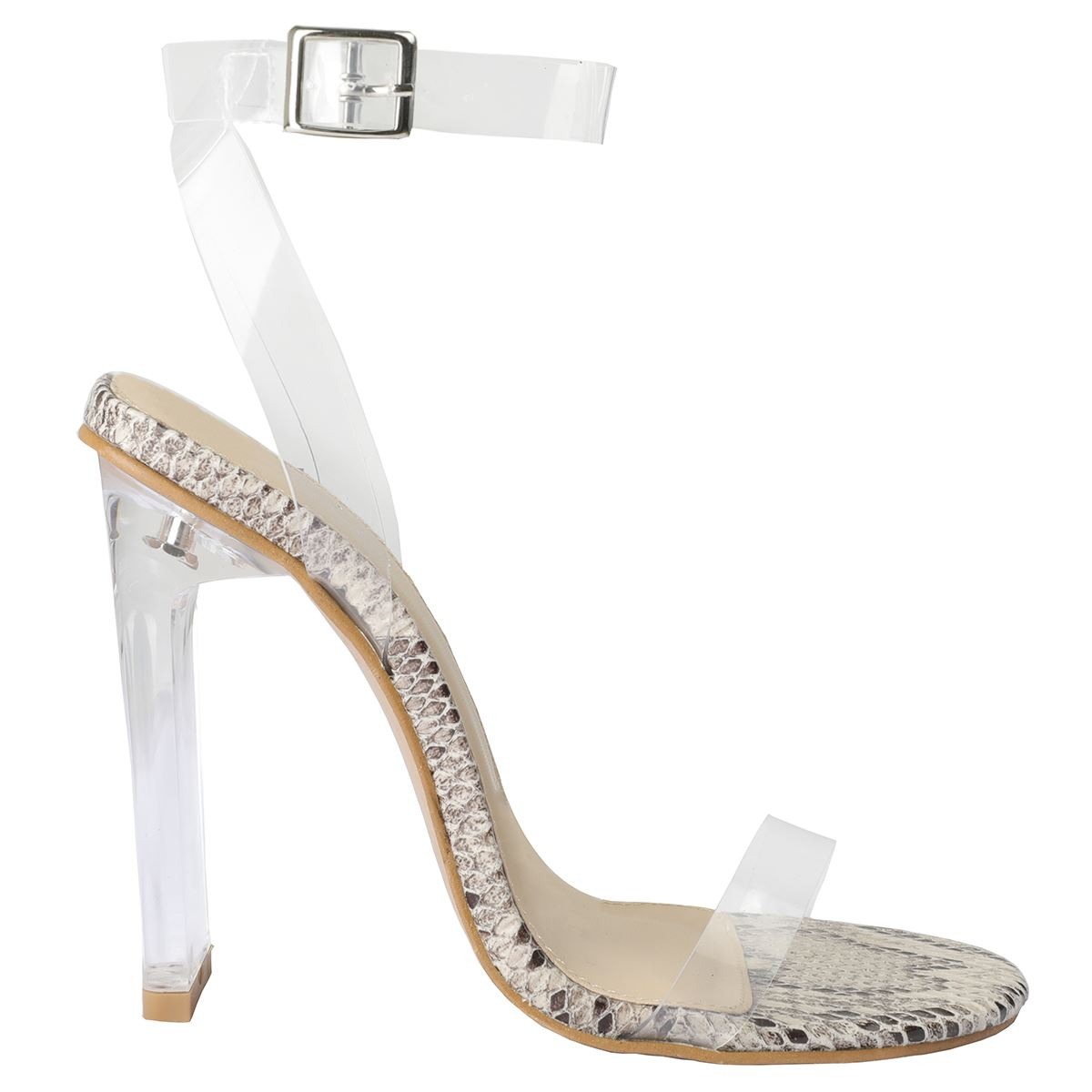 27d017b598e New Womens High Heel Nude Black Perspex Clear Strappy Party Sandals ...
