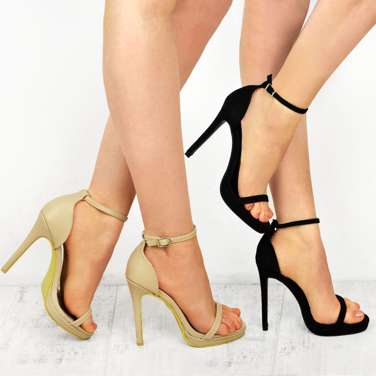 cbc25565 Image is loading Womens-Ladies-Stiletto-High-Heel-Party-Platform-Strappy-