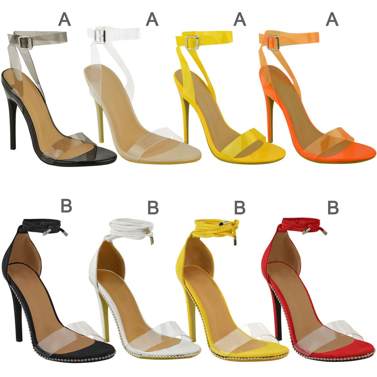 Womens Sexy Stiletto High Heel Ankle Lace Sandals Perspex Clear Strappy Size UK