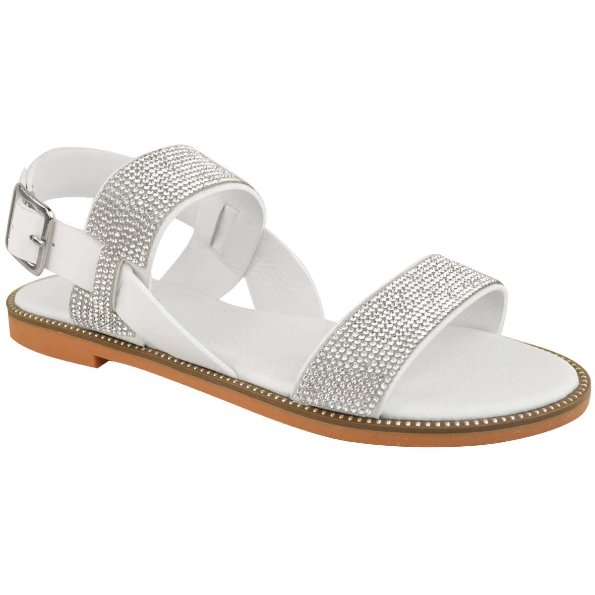 be9622f8409f New Ladies Womens Low Heel Flat Diamante Summer Sandals Strappy ...