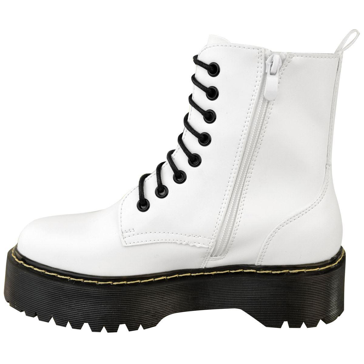 Womens-Ladies-Chunky-Lace-Up-Ankle-Boots-Platform-Icon-Retro-Goth-Punk-Black miniatuur 20