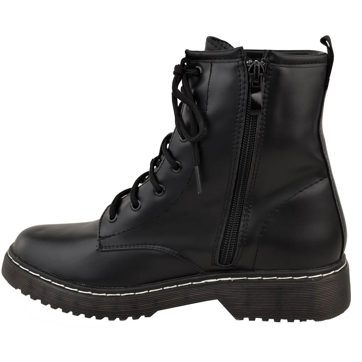 Womens-Ladies-Doc-Ankle-Boots-Low-Flat-Heel-Lace-Up-Worker-Army-Black-Goth-Size miniatuur 4
