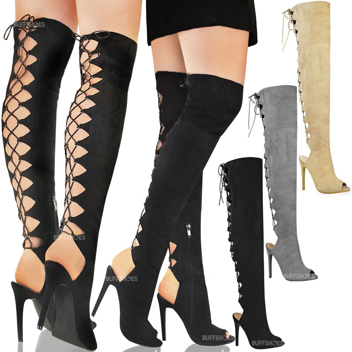 bottes cuissardes talons aiguilles moulant sexy lacets femme eur 42 99 picclick fr. Black Bedroom Furniture Sets. Home Design Ideas