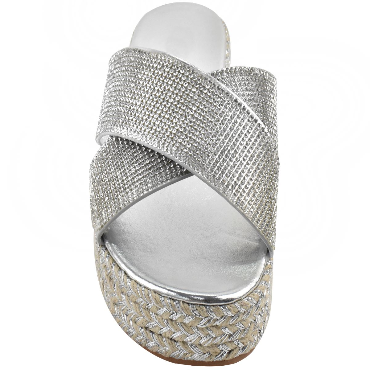 Womens-Diamante-Slip-On-Sandals-Flatforms-Sparkly-Platform-Summer-Size-UK thumbnail 16