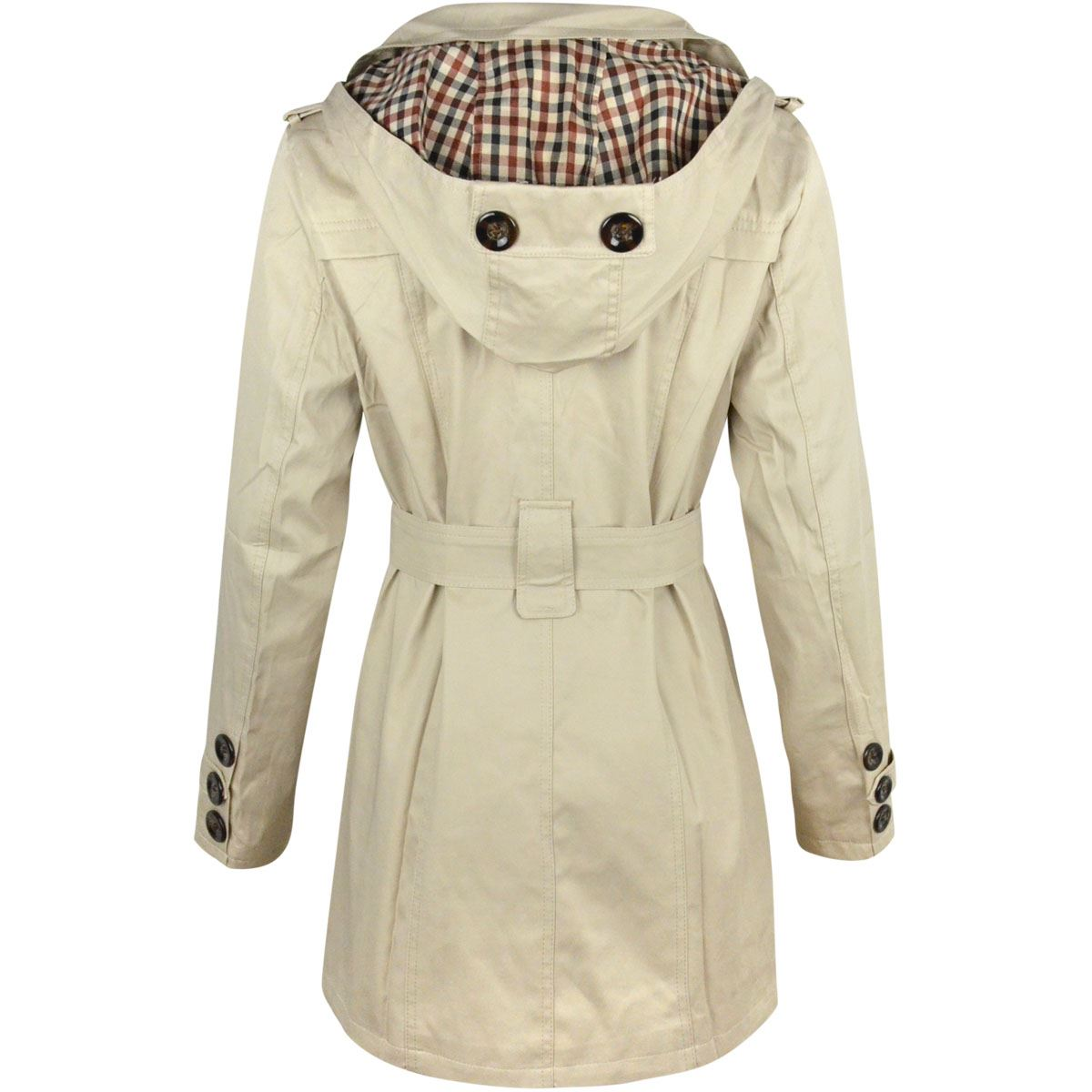 WOMENS LADIES DOUBLE BREASTED MAC BELTED COAT CANVAS SMART JACKET ... 298f0fd43d
