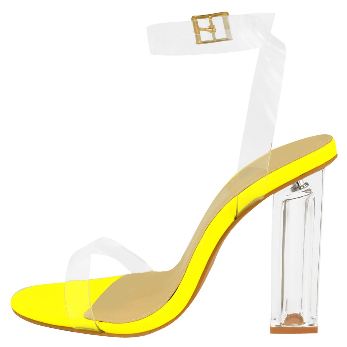ad256bae712efe Womens Perspex Clear See Through Party Sandals Block High Heel ...