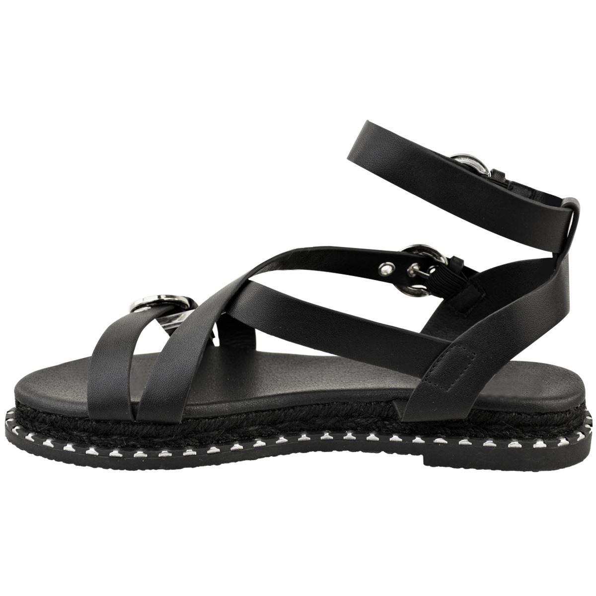 Womens Ladies Flat Black Faux Leather Espadrille Sandals Platform Strappy Summer
