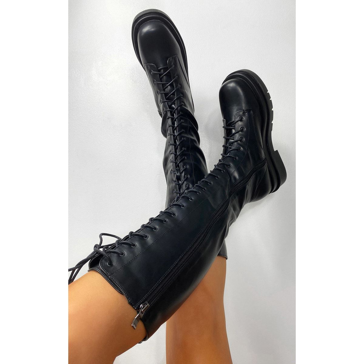 thumbnail 3 - Womens-Ladies-Lace-Up-Knee-Boots-Calf-High-Shoe-Grunge-Chunky-Sole-Size-Zip-New