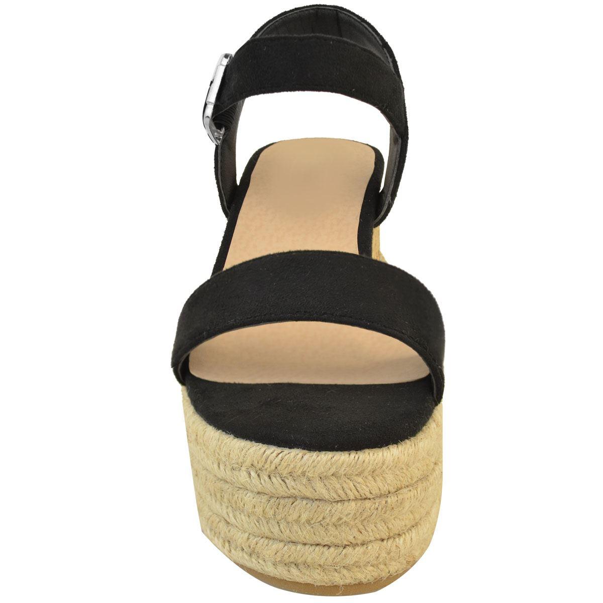 Womens Ladies Low Cork Wedge Platform Sandals Summer Espadrilles Comfort Size