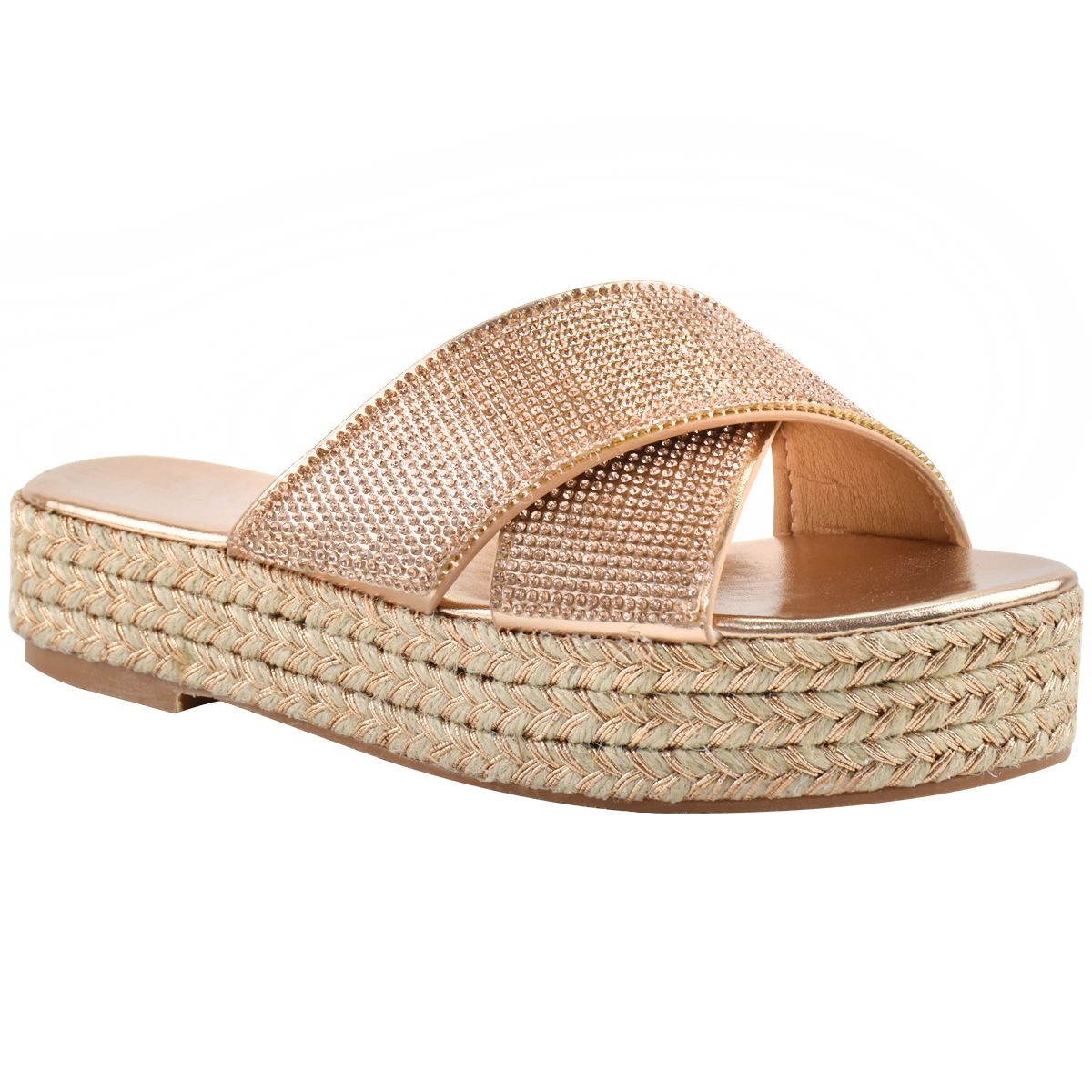 Womens-Diamante-Slip-On-Sandals-Flatforms-Sparkly-Platform-Summer-Size-UK thumbnail 8